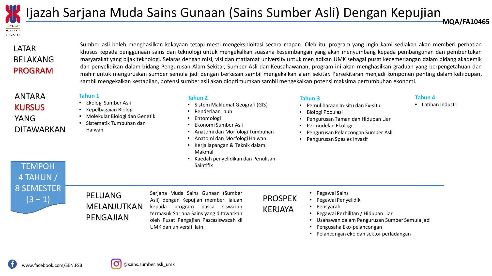 Ijazah Sarjana Muda Sains Gunaan Sains Sumber Asli Dengan Kepujian Faculty Of Earth Science Universiti Malaysia Kelantan